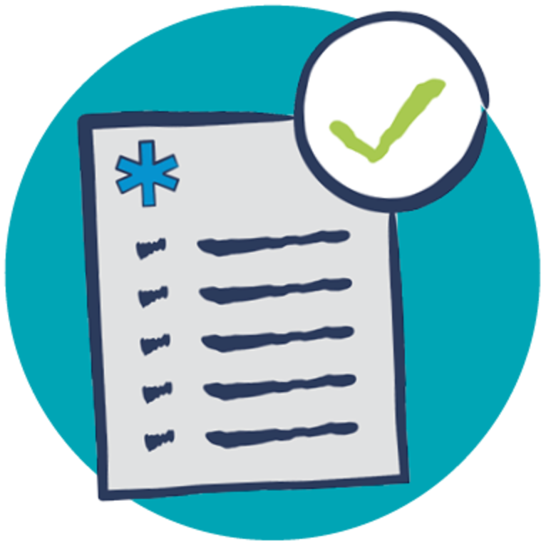 health screening check list with green check mark