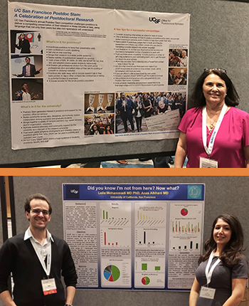 top: Des Jarlais with her poster; bottom: Alkhani and Mohammadi with their poster